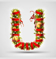 christmas font letter u of christmas tree vector image vector image