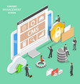 cms flat isometric concept vector image vector image