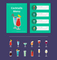 cocktails menu bar layout vector image vector image