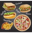 color fast food on a black board vector image