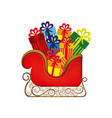 Colorful silhouette of sleigh with gifts vector image