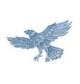 crow flying mandala vector image vector image