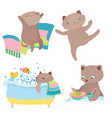 cute cartoon cat morning routine vector image vector image