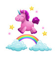 cute textile unicorn toy running on the rainbow vector image