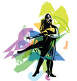 dancing couple abstract lines drawing vector image