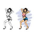 dancing girl with headphones vector image