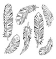 decorative set feathers in ethnic style vector image vector image