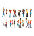 different happy people taking selfie photo cartoon vector image