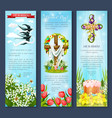 easter egg cross cake bird cartoon banner set vector image vector image