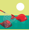 fishing fish cartoon vector image vector image