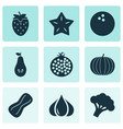 food icons set with starfruit pear garlic and vector image vector image