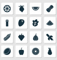 food icons set with tropical fruit mandarin vector image