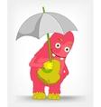 Funny Monster Under umbrella vector image
