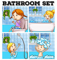 Girls in bathroom and toilet vector image