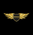 gold wings logo creative sport or business vector image vector image