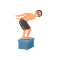 guy standing on starting block at swimming pool vector image