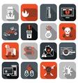 hacker icons set flat vector image