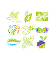 leaf logo design template set vector image vector image