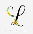 letter l watercolor floral background vector image vector image