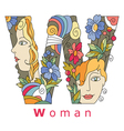 letter W Woman vector image vector image