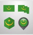 mauritania flag design set vector image vector image