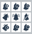 notification bells icon set in glyph style vector image