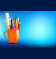 orange stationary mug with pen pencil eraser vector image vector image