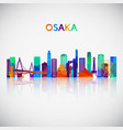 osaka skyline silhouette in colorful geometric vector image vector image