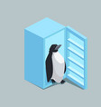 penguin from fridge isometric vector image vector image