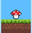 pixel mushroom on cute 2d meadow banner vector image vector image
