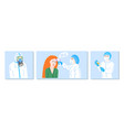 set 3 posters in flat style about coronavirus vector image vector image