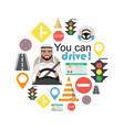 set of road symbols and driver arab man character vector image vector image