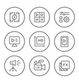 set round line icons video vector image vector image