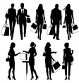 shopping people silhouettes vector image