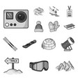 ski resort and equipment monochrome icons in set vector image vector image