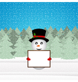 Snowman holding a banner in the forest vector image vector image