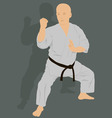 The man is engaged in karate on a green background vector image vector image