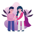 vaccination medical care female physician and boy vector image