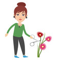 woman cutting flowers on white background vector image vector image