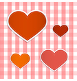 Hearts Made From Paper on Retro Tablecloth vector image