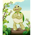 A turtle standing on dry wood vector image