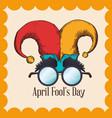 april fools day hat joker glasses vector image vector image