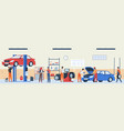 auto repair service car workshop panorama vector image vector image