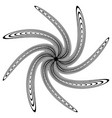 black and white circular element concentric vector image vector image