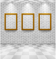 Brick room with frames vector image vector image