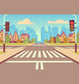cartoon city crossroads with traffic lights vector image