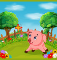 cartoon happy pig smile in the farm vector image vector image