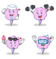 cotton candy character set with sailor fitness ice vector image