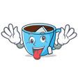 crazy tea cup mascot cartoon vector image vector image