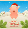cute cartoon pig in santa claus hat character vector image